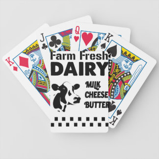 Dairy farm fresh, milk cheese butter bicycle playing cards