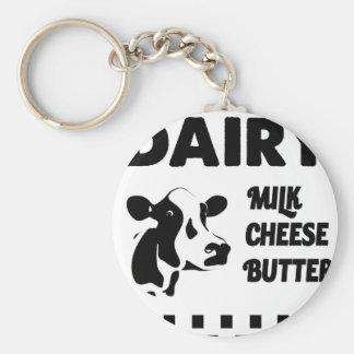 Dairy farm fresh, milk cheese butter keychain