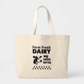 Dairy farm fresh, milk cheese butter large tote bag