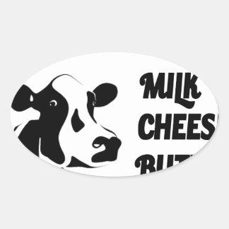 Dairy farm fresh, milk cheese butter oval sticker