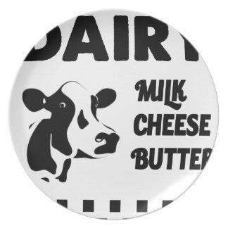 Dairy farm fresh, milk cheese butter plates