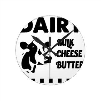 Dairy farm fresh, milk cheese butter round clock