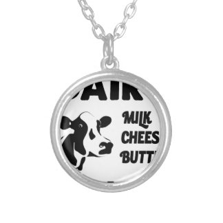Dairy farm fresh, milk cheese butter silver plated necklace