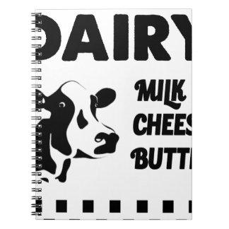Dairy farm fresh, milk cheese butter spiral notebook