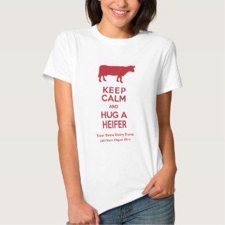 Dairy Farm Keep Calm and Hug a Heifer Cow Lovers Tshirts