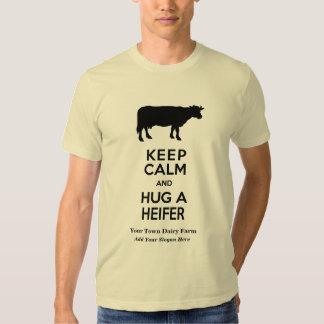 Dairy Farm Keep Calm and Hug a Heifer Funny Tees