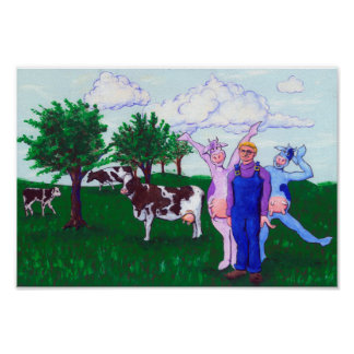 Dairy Farmer and Cows Poster