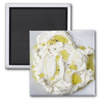 Dairy, Food, Food And Drink, Mascarpone, Cheese Square Magnet