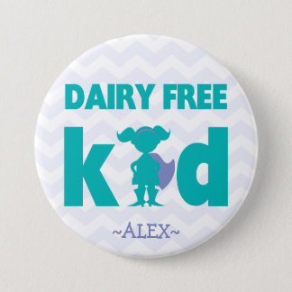 Dairy Free Superhero Girl Button