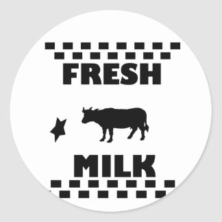 Dairy fresh cow milk classic round sticker