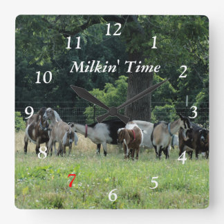 Dairy Goats Clock- customize-choose size Square Wall Clock