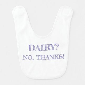 """Dairy? No, thanks!"" Bib, White with Purple Text Bib"