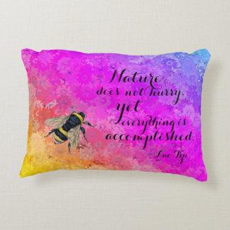 Daises Rainbow Colors Bee & Lao Tzu Quote Decorative Pillow