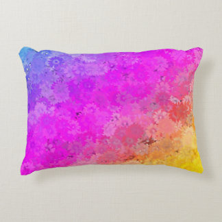 Daises Rainbow Floral Polyester or Cotton Decorative Pillow