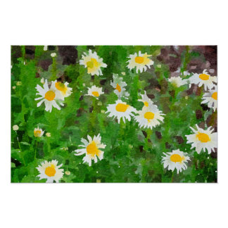 Daisies Abstract Watercolor Painting Poster