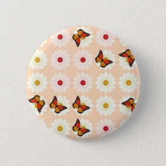 Daisies and butterflies 2 inch round button