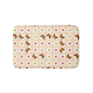 Daisies and butterflies bath mat