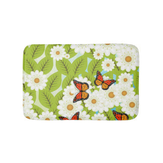 Daisies and butterflies bathroom mat