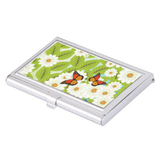 Daisies and butterflies case for business cards