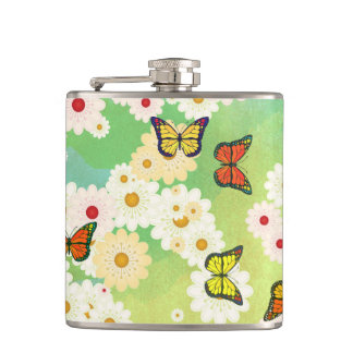 Daisies and butterflies hip flask