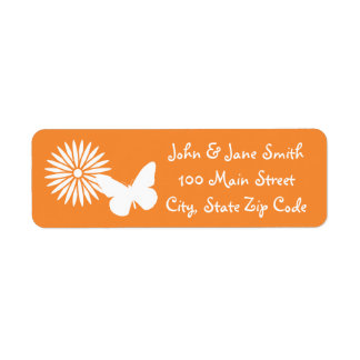 Daisies and Butterflies in Orange Address Label