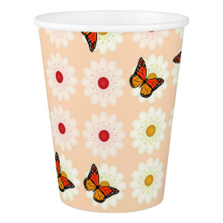 Daisies and butterflies paper cup