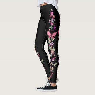Daisies and Butterflies Pastel Floral Print Leggings