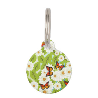 Daisies and butterflies pet ID tag