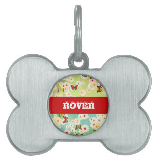 Daisies and butterflies pet tag