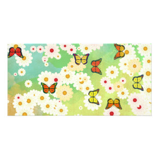 Daisies and butterflies photo greeting card
