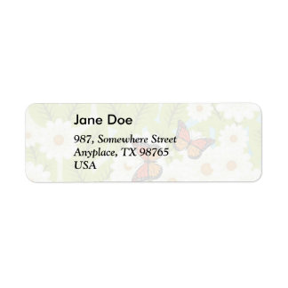 Daisies and butterflies return address label