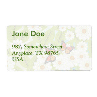 Daisies and butterflies shipping label