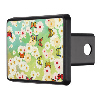 Daisies and butterflies trailer hitch cover