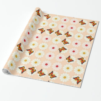 Daisies and butterflies wrapping paper
