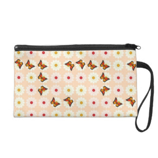 Daisies and butterflies wristlet clutch
