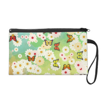 Daisies and butterflies wristlet purses