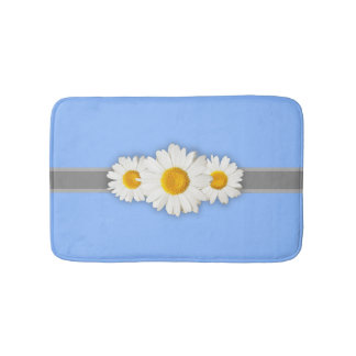 Daisies and Light Blue Bathroom Bath Mat Anti-Skid