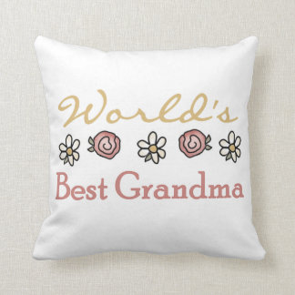 Daisies and Roses World's Best Grandma Gifts Throw Pillow