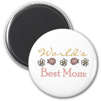 Daisies and Roses World's Best Mom 2 Inch Round Magnet