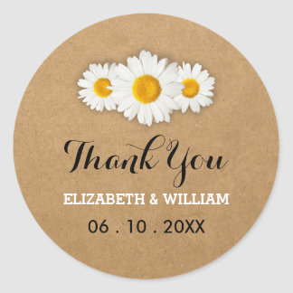 Daisies and Rustic Paper Wedding Thank You Round Sticker