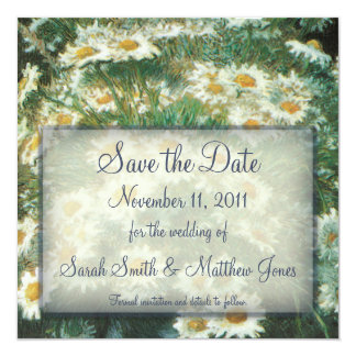 Daisies Bouquet Wedding Save the Date Notice 5.25x5.25 Square Paper Invitation Card