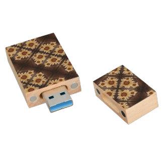 Daisies brown wood USB flash drive