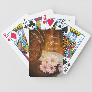 Daisies Cowboy Boots Country Western Wedding Bicycle Playing Cards
