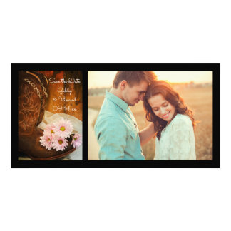 Daisies Cowboy Boots Western Wedding Save the Date Card