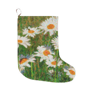 Daisies Dots Pointillism Art Large Christmas Stocking