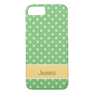 Daisies in a Diamond Pattern on Green iPhone 7 Case