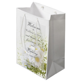 Daisies in Love- Editable Wedding Bouquet Medium Gift Bag