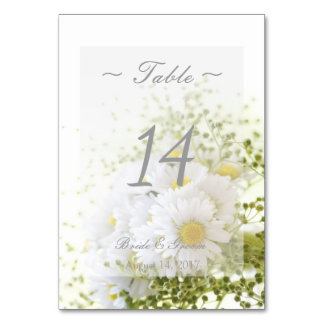 Daisies in Love- Floral Wedding Table Number Table Card