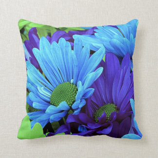 Daisies in Shades of Blue and Green Throw Pillow