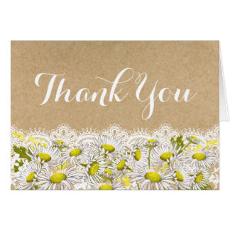 Daisies Lace Kraft Rustic Modern Thank You Card